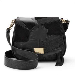 Juicy Couture Black Patchwork Flap Saddle Bag NWT